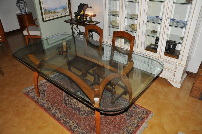 Tavolo cristallo legno fabbrica di zona giorno su misura a for Tavolo cristallo e legno